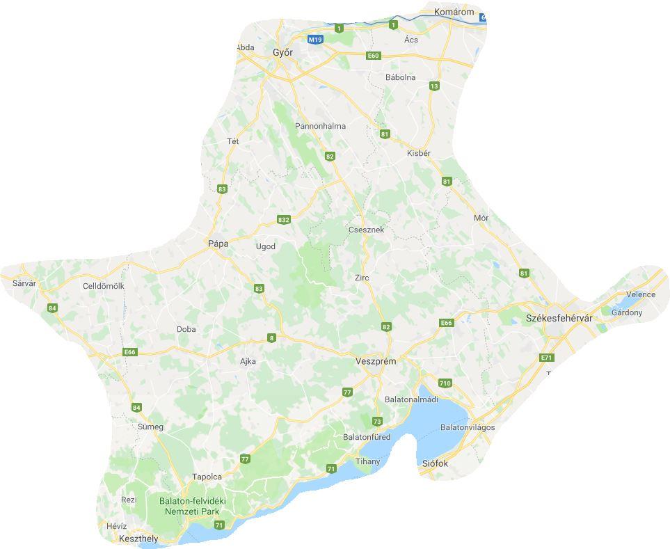 Működési terület - Nap-Ház Napenergia Hasznosítás | Veszprém és környéke